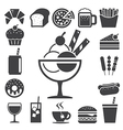 Fast food and dessert icon set eps10 vector image