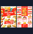 fast food burgers snacks and desserts menu vector image vector image