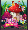 font design for word fairy magic with fairies vector image vector image