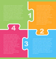 four colorful piece puzzle infographic 4 step vector image vector image