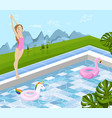 girl jumping in a pool summer background vector image