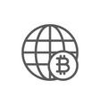 global world with bitcoin coin blockchain crypto vector image vector image