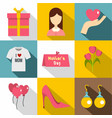 happy mama day icon set flat style vector image vector image