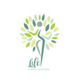 healthy life logo design with abstract silhouette vector image vector image