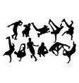 hip hop and dance people silhouettes vector image vector image
