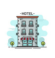 hotel building line outline vector image