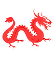isolated red dragon on white chinese symbol vector image vector image