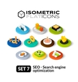 Isometric flat icons set 7 vector image vector image