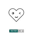kawaii heart love icon outline style isolated on vector image vector image