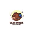 logo bear music mascot cartoon style vector image vector image