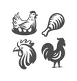 logo chicken and rooster emblems on white vector image