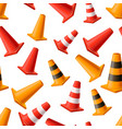 lot of bright yellow and red road cones seamless vector image vector image