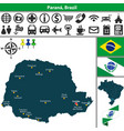 map of parana brazil vector image vector image