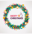 merry christmas card wreath circle frame vector image