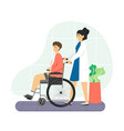 nurse with patient sitting in wheelchair in vector image