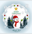 paper art christmas postcard with winter forest vector image vector image