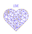 polygonal wireframe heart valentines day vector image