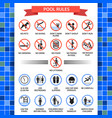 pool rules poster vector image