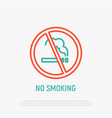 prohibition sign no smoking thin line icon vector image