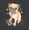 pug puppy cute valentine gift full love vector image