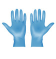 realistic blue medical latex protective gloves vector image