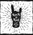 rock hand gesture of horns music print or label vector image vector image