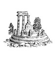 ruins ancient greece greek columns landscape vector image vector image