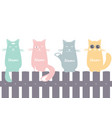 seamless pattern background with cats on the fence vector image vector image