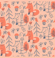 seamless pattern with cute hand drawn fox vector image vector image