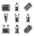 set icons of hygiene products in the bathroom vector image vector image