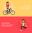 Set of Concept Flat Style Sport Female Cartoon vector image vector image