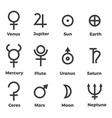 solar system planets icons set symbols vector image