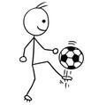 stickman cartoon of soccer football player vector image