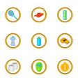 tennis equipment icons set cartoon style vector image vector image