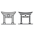 torii gate line and glyph icon japan and vector image