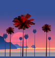 tropical sunrise at seashore with palms and vector image vector image