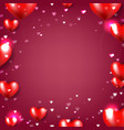 valentines day poster with red hearts red vector image