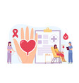 volunteers blood donation woman in chair gives vector image