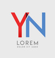 yn logo letters with blue and red gradation vector image vector image