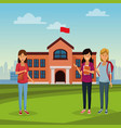 young students in highschool building vector image