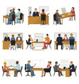 business people sitting room long time amusing vector image