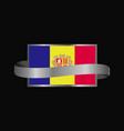 andorra flag ribbon banner design vector image