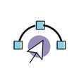 arrow cursor with nodes design image vector image