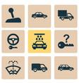automobile icons set with washer fluid sedan van vector image