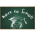 Back to school on green schooboard vector image vector image
