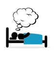 Bedroom sleeping and dreaming vector image