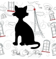 Black cat and Paris vector image vector image