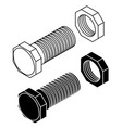 bolt with nut outline drawing vector image vector image