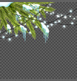 border with realistic firtree sparkling lights vector image vector image