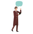 business man with tablet and speech bubble vector image vector image